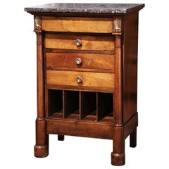 Mid-19th Century French Empire Walnut and Marble Bedside Table with Drawers