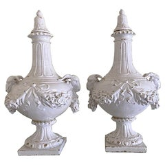 Mid-19th Century French Faience Porcelain Urns