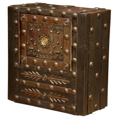 Mid-19th Century French Forged Wrought Iron Hobnail Studded Safe
