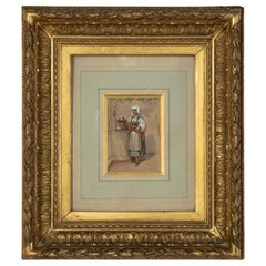 Mid-19th Century French Gouache Painting on Paper, 22K Gold Leaf Giltwood Frame