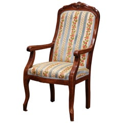 Mid-19th Century French Louis Philippe Carved Walnut and Velvet Child Armchair