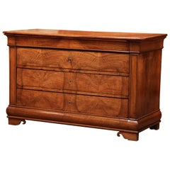 Mid-19th Century French Louis Philippe Carved Walnut Four-Drawer Commode