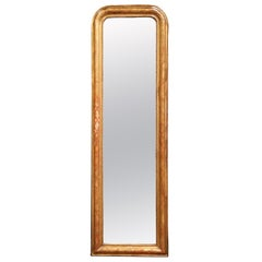 Mid-19th Century French Louis Philippe Giltwood Mirror with Engraved Decor