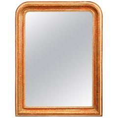 Mid-19th Century French Louis Philippe Red and Gilt Wall Mirror with Greek Motif