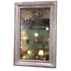 Mid-19th Century French Louis Philippe Silver Leaf Mirror with Geometric Decor
