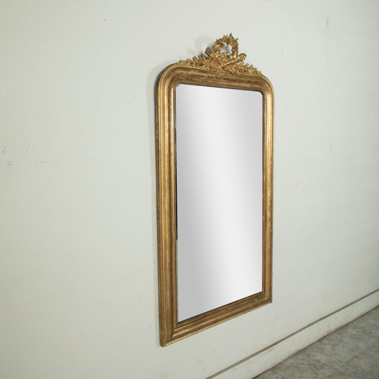Mid-19th Century French Louis Philippe Style Gilt Wood Mirror, Louis XVI Motif For Sale 1