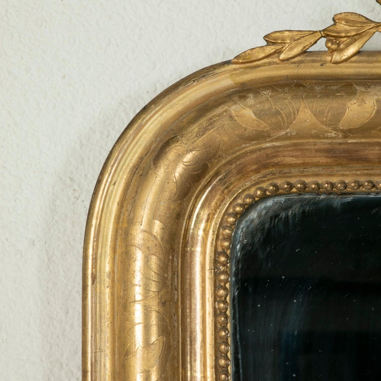 Mid-19th Century French Louis Philippe Style Gilt Wood Mirror, Louis XVI Motif For Sale 3