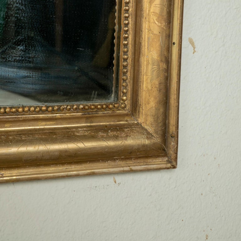 Mid-19th Century French Louis Philippe Style Gilt Wood Mirror, Louis XVI Motif For Sale 4