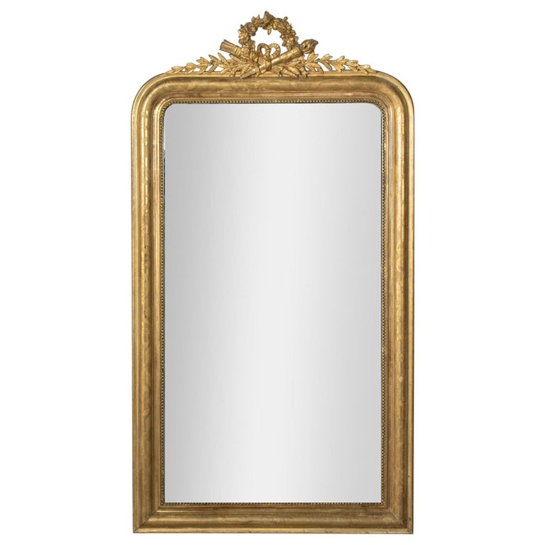 Mid-19th Century French Louis Philippe Style Gilt Wood Mirror, Louis XVI Motif For Sale