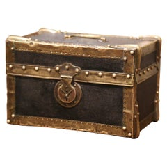 Mid-19th Century French Louis XIII Brass and Leather Decorative Box Trunk Safe