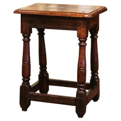 Mid-19th Century French Louis XIII Carved Oak Country Stool from Normandy