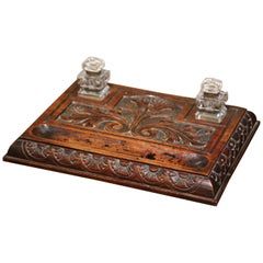 Mid-19th Century French Louis XIII Carved Walnut and Cut Glass Inkwell