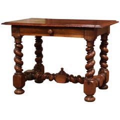 Mid-19th Century, French, Louis XIII Carved Walnut Barley Twist Table Desk