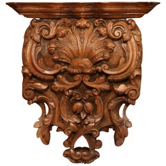 Mid-19th Century French Louis XIV Carved Walnut Wall Bracket with Shell Motif