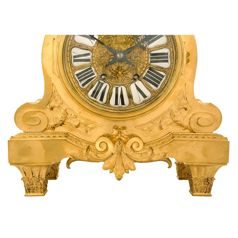 Mid-19th Century French Louis XIV Style Ormolu Clock For Sale 2