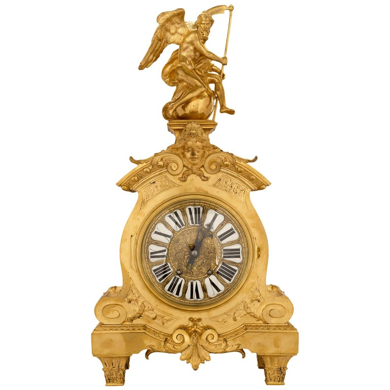 Mid-19th Century French Louis XIV Style Ormolu Clock For Sale