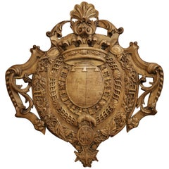 Mid-19th Century French Louis XV Carved Oak Wall Mounted Shield Sculpture