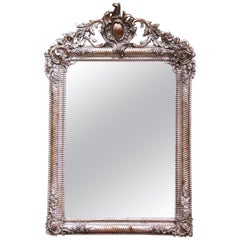 Mid-19th Century French Louis XV Hand Carved Silvered Wall Mirror