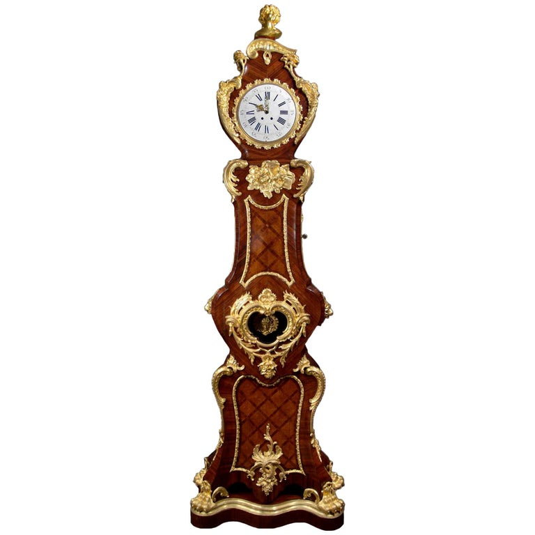 Mid-19th Century French Louis XV Style Grandfather Clock For Sale