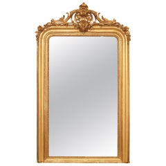 Mid-19th Century French Louis XV/xvi St. Giltwood Mirror