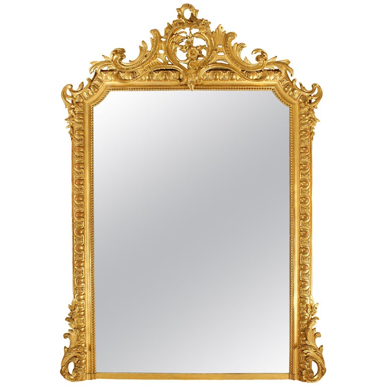 Mid-19th Century French Louis XVI Style Giltwood Mirror For Sale