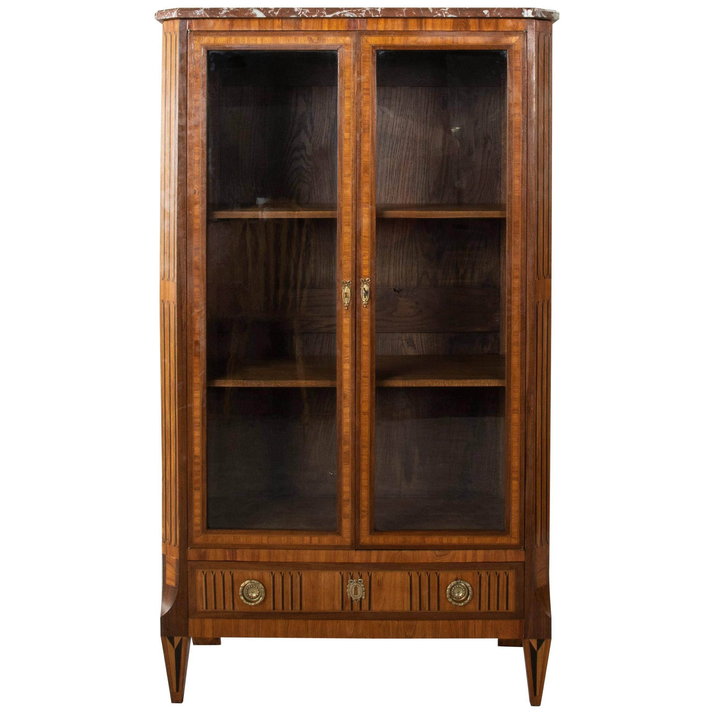 Mid-19th Century French Louis XVI Style Walnut Marquetry Vitrine with Marble Top
