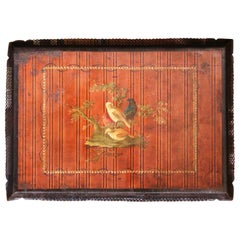 Mid-19th Century French Napoleon III Hand Painted Tole Tray with Bird Motifs