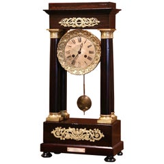Mid-19th Century French Napoleon III Mahogany Portico Mantel Clock