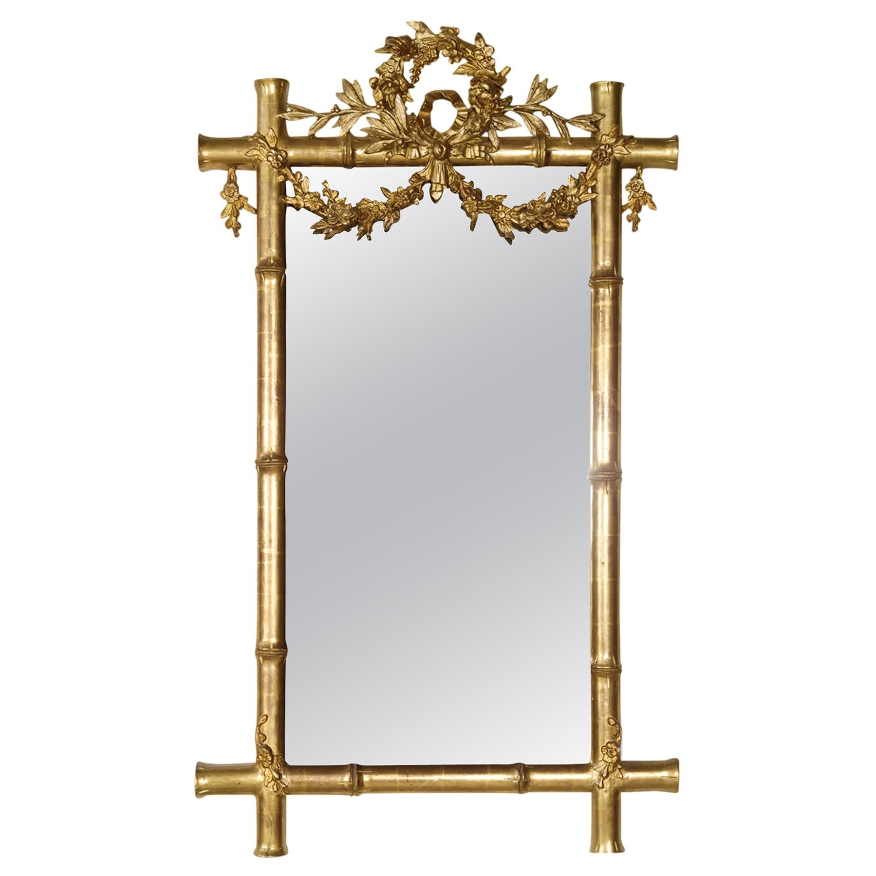 Mid-19th Century French Napoleon III Period Faux Bamboo Giltwood Mirror