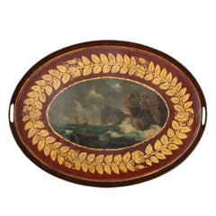 Mid-19th Century French Napoleon III Red and Gold Tole Tray with Marine Scene
