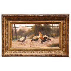 Mid-19th Century French Oil on Board Chicken Painting in Carved Gilt Frame