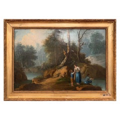 Mid-19th Century French Oil on Canvas Pastoral Painting in Carved Gilt Frame