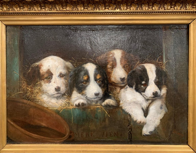This antique oil on canvas painting was created in France circa 1850, set in the original carved gilt wood frame and titled