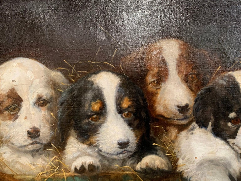 Mid-19th Century French Oil on Canvas Puppies Painting in Carved Gilt Frame In Excellent Condition For Sale In Dallas, TX