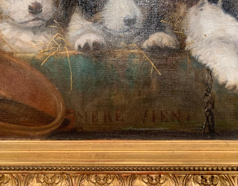Giltwood Mid-19th Century French Oil on Canvas Puppies Painting in Carved Gilt Frame For Sale
