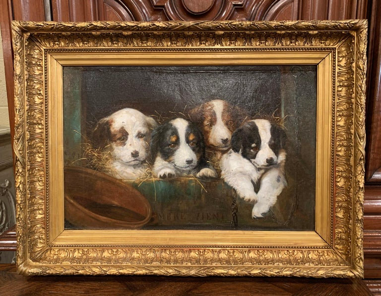 Mid-19th Century French Oil on Canvas Puppies Painting in Carved Gilt Frame For Sale 1
