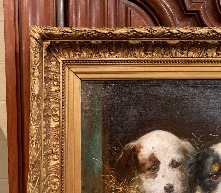 Mid-19th Century French Oil on Canvas Puppies Painting in Carved Gilt Frame For Sale 2