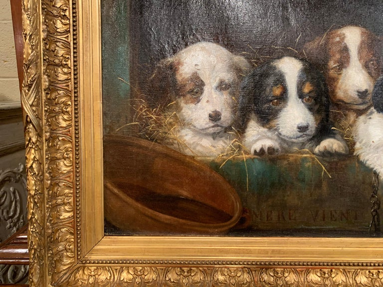 Mid-19th Century French Oil on Canvas Puppies Painting in Carved Gilt Frame For Sale 4