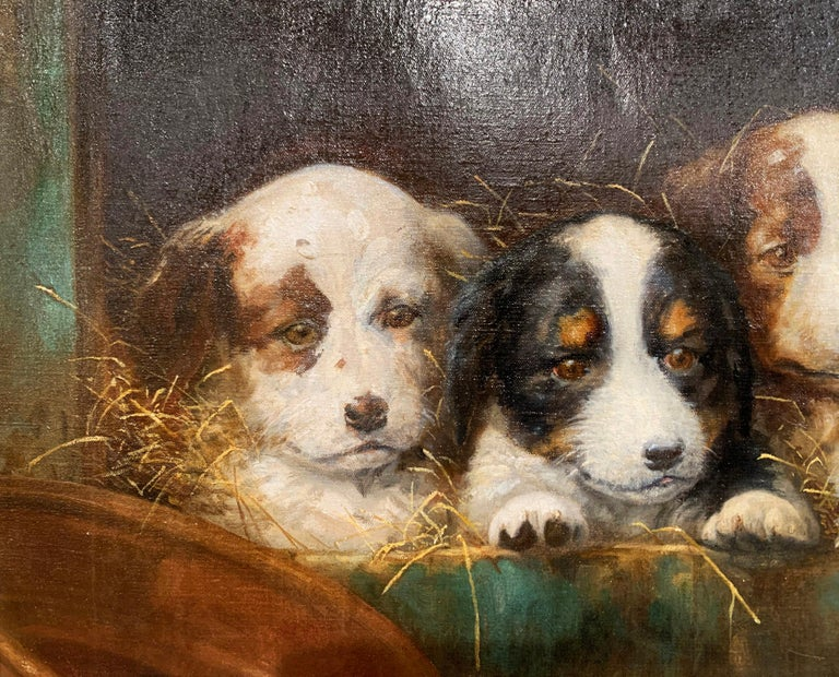 Mid-19th Century French Oil on Canvas Puppies Painting in Carved Gilt Frame For Sale 5