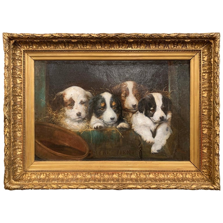 Mid-19th Century French Oil on Canvas Puppies Painting in Carved Gilt Frame For Sale