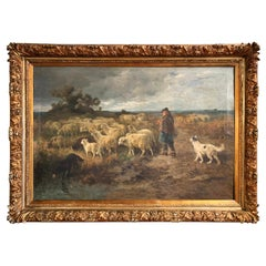Mid-19th Century French Oil on Canvas Sheep Painting in Carved Gilt Frame Signed