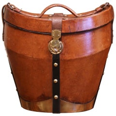 Mid-19th Century French Oval Pigskin Leather Hat Box from Paris