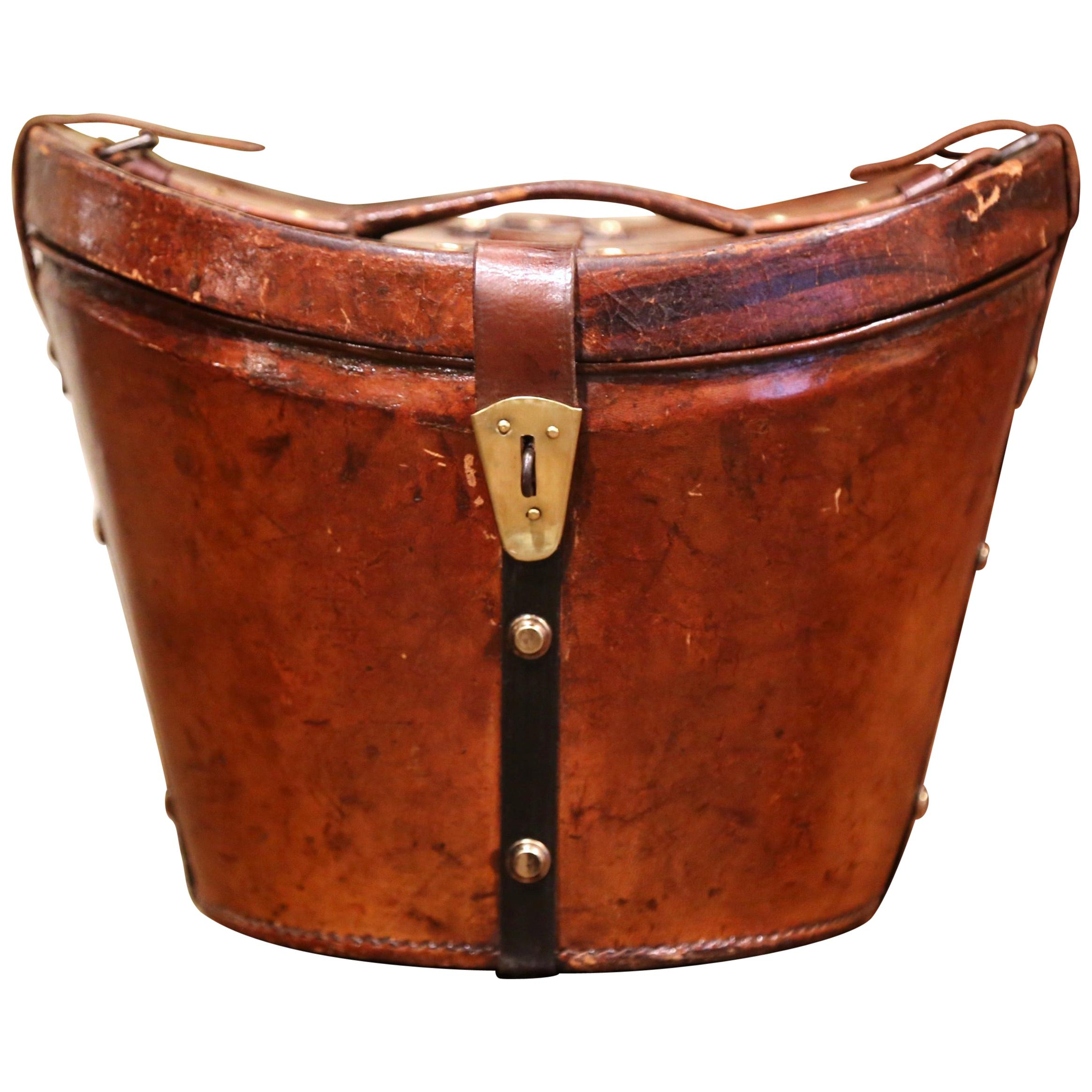 Mid-19th Century French Oval Pigskin Leather Top Hat Box from Paris