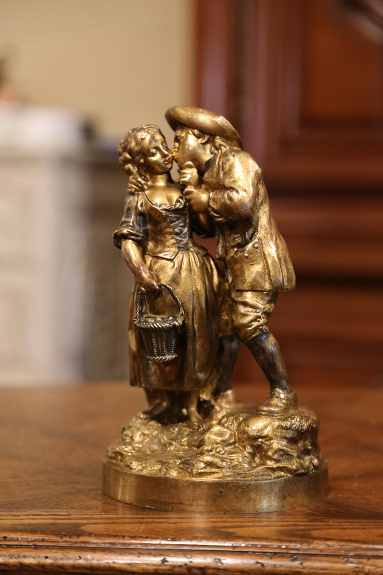 Louis XVI Mid-19th Century French Patinated Bronze Sculpture Composition