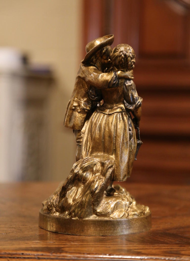 Mid-19th Century French Patinated Bronze Sculpture Composition