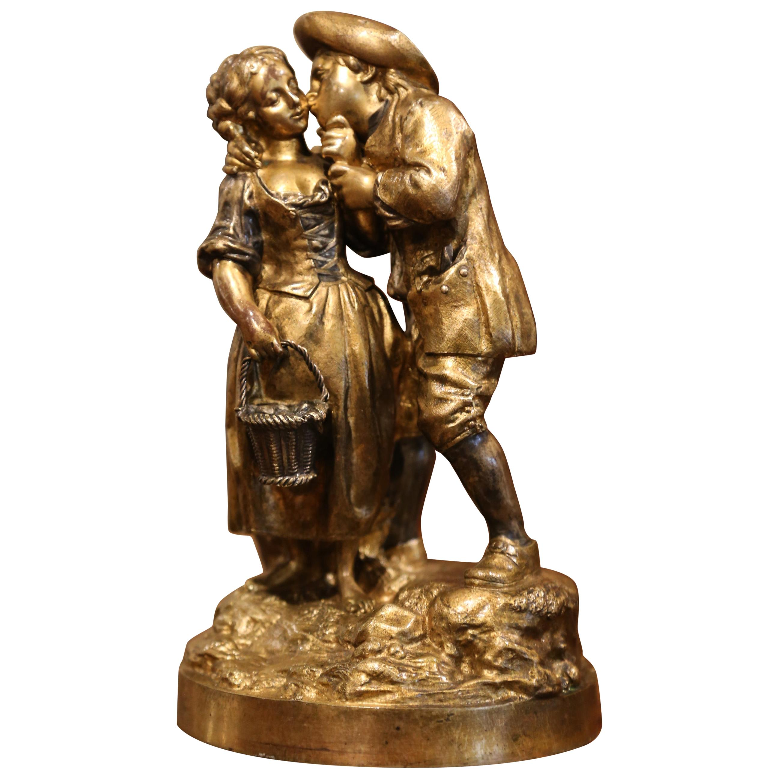 """Mid-19th Century French Patinated Bronze Sculpture Composition """"The Kiss"""""""
