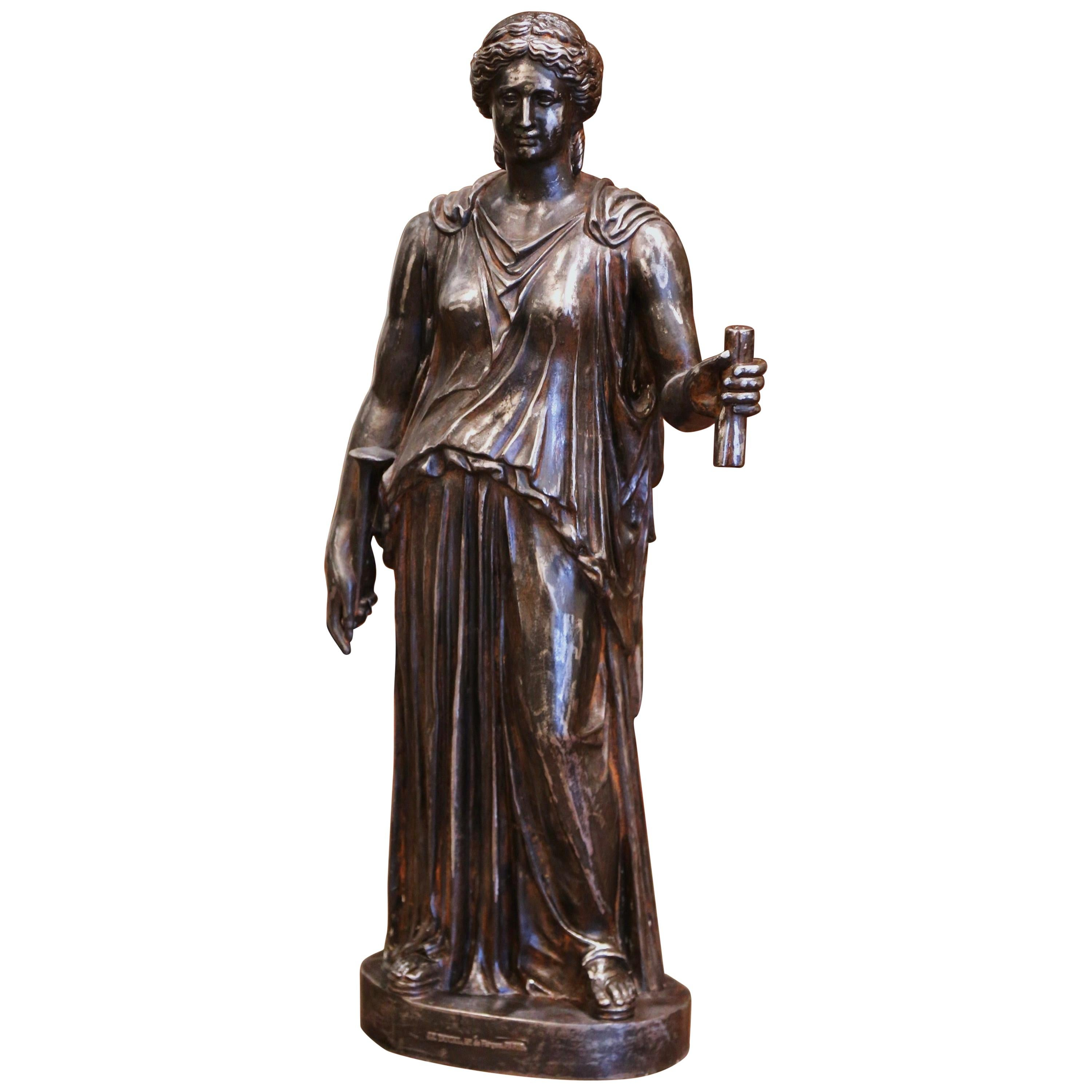 Mid-19th Century French Polished Iron Roman Female Statuary Signed J.J. Ducel