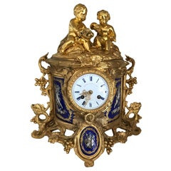 Mid-19th Century French Porcelain Mounted Ormolu Mantel Clock