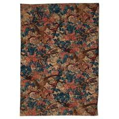 Mid-19th Century French Printed Hawk and Flora Cotton Textile