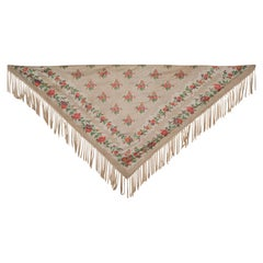 Mid-19th Century French Silk Jacquard and Chiné Shawl